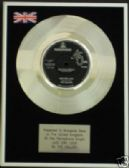 "THE HOLLIES  7"" Platinum Disc - JUST ONE LOOK"